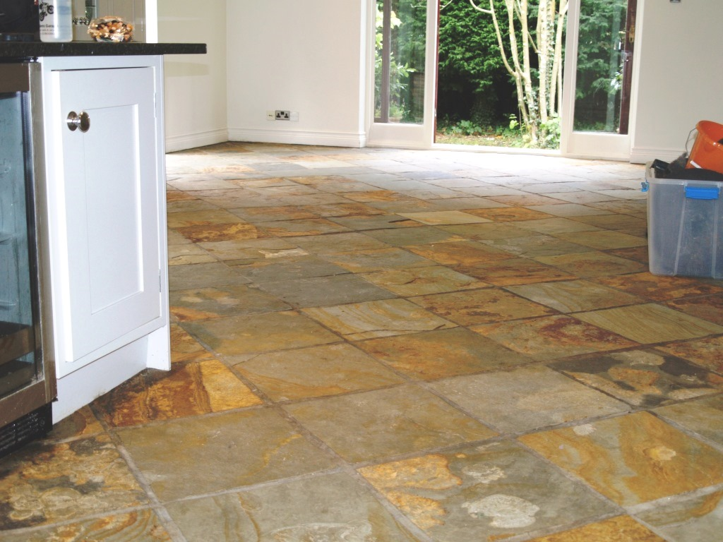 Bamboo slate the natural slate companythe natural slate for Stone kitchen floor ideas
