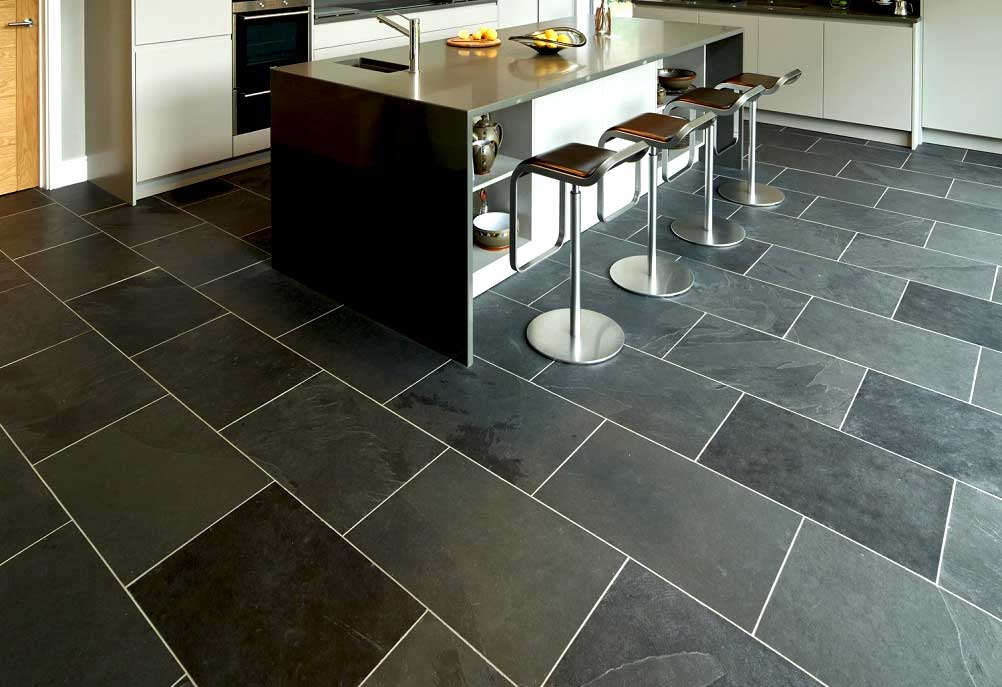Slate tile kitchen floor