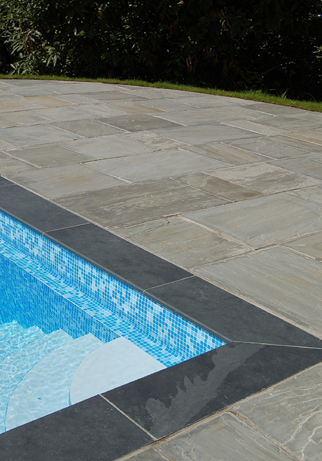 Architectural slate products - bullnosed pool capping
